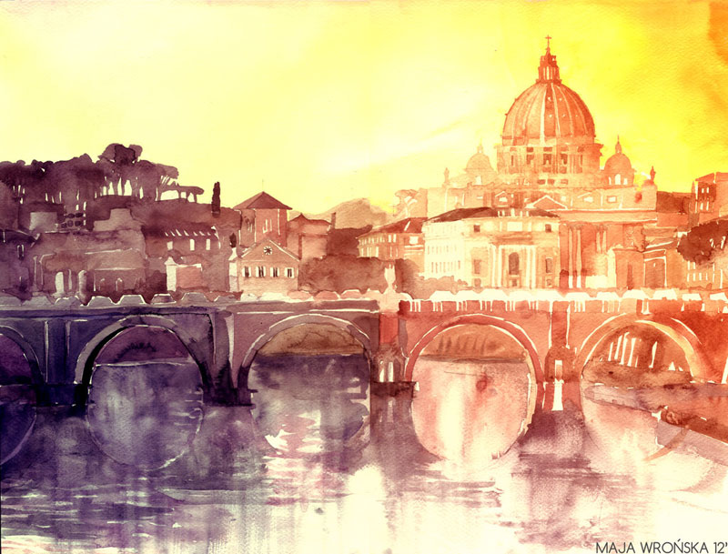 watercolor cityscapes by maja wronska takmaj poland (3)