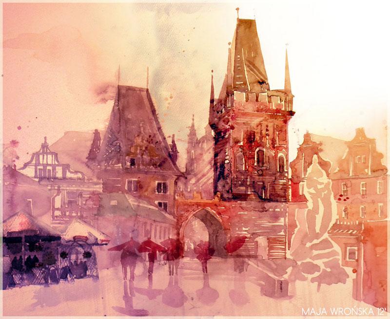 watercolor cityscapes by maja wronska takmaj poland (4)