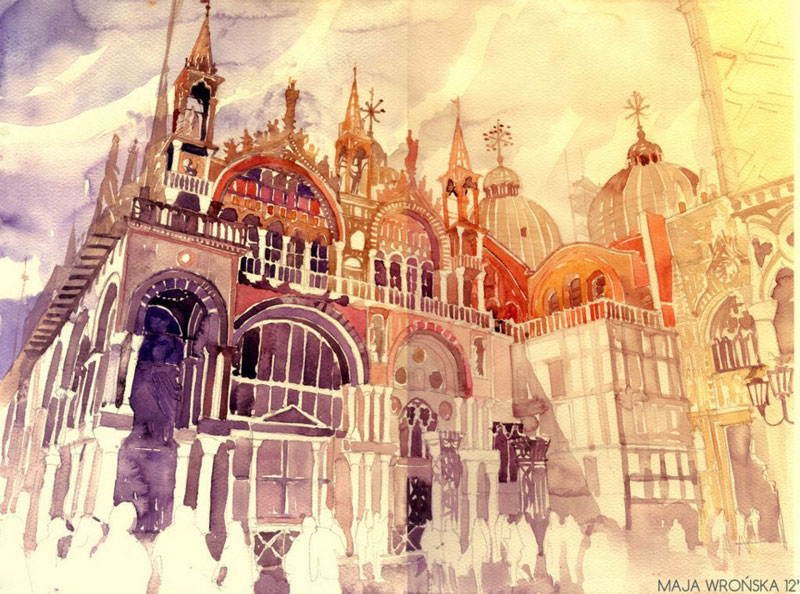 watercolor cityscapes by maja wronska takmaj poland (5)