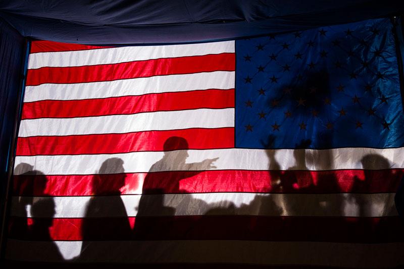 american flag silhouette obama