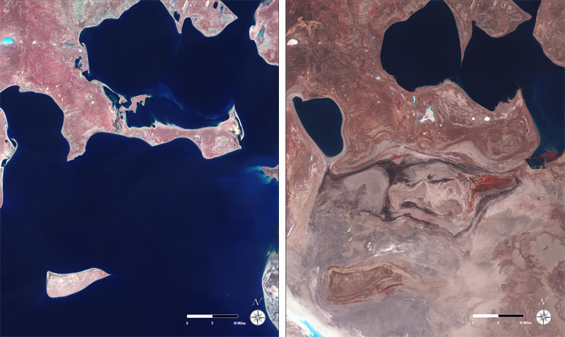 aral sea  landsat satellite image