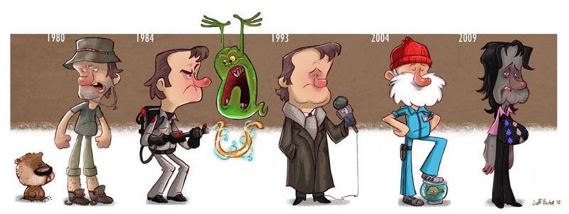 bill murray character evolution illustrated by jeff victor The Character Evolutions of Famous Actors