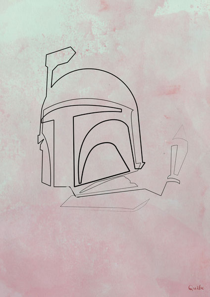 boba fett One Line Portraits by Quibe