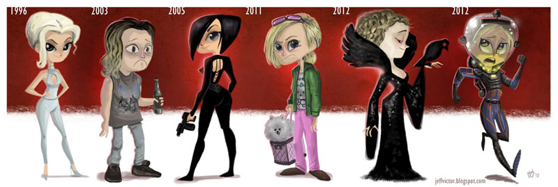 charlize theron character evolution illustrated by jeff victor The Character Evolutions of Famous Actors