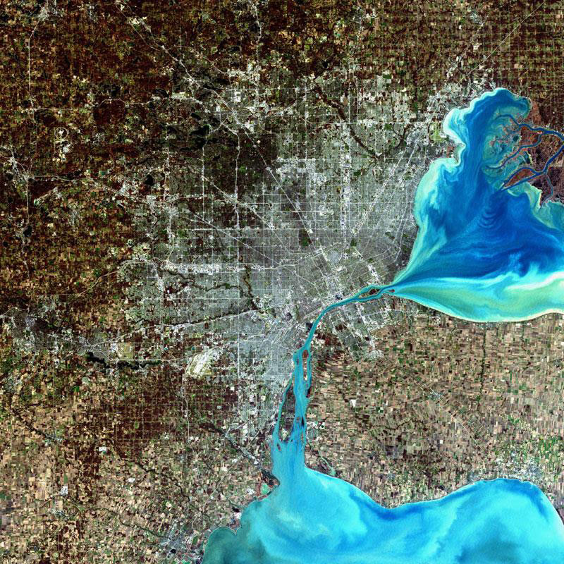 detroit landsat satellite imagae 15 Surreal Satellite Images of Earth