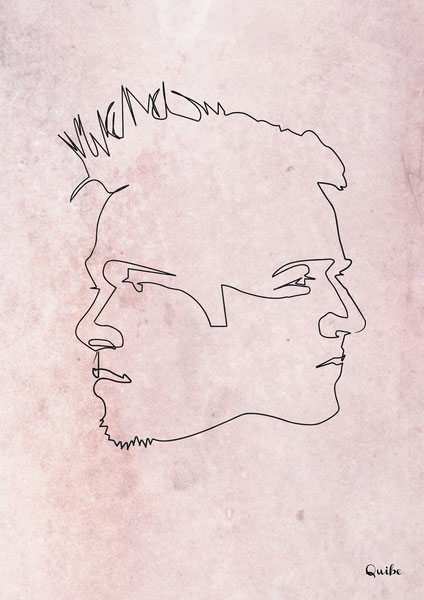 fight-club one line portrait by quibe