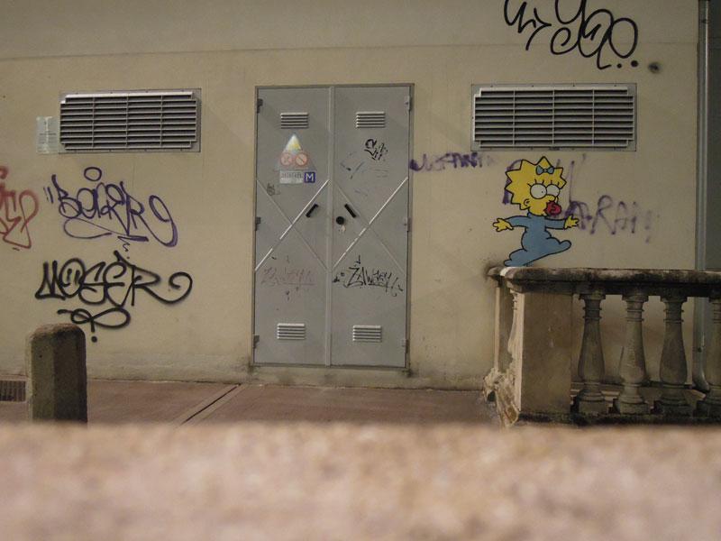 kenny random maggie simpson street art