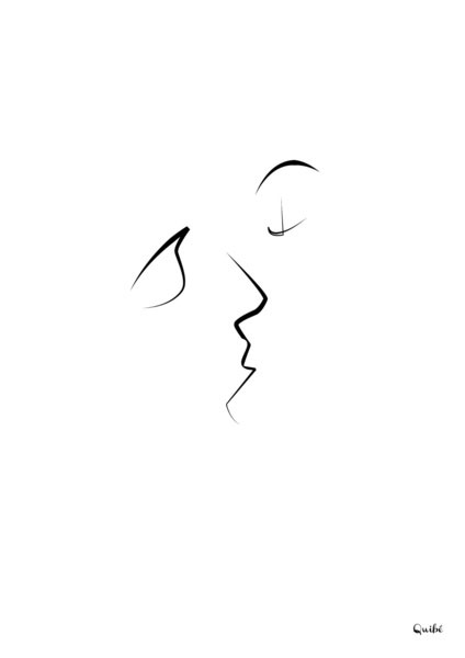 kiss one line portrait by quibe