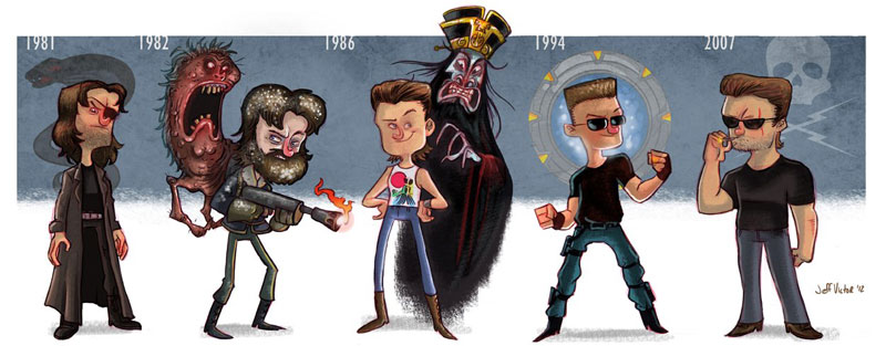 kurt russell character evolution illustrated by jeff victor The Character Evolutions of Famous Actors