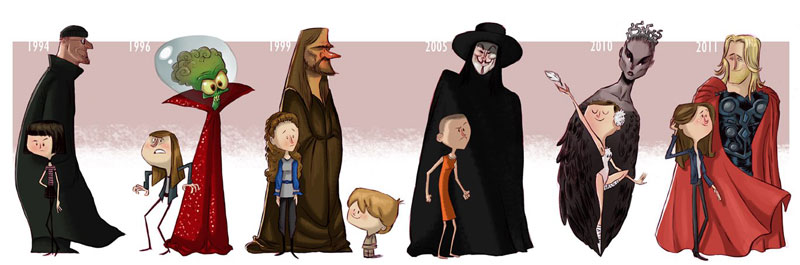 natalie portman character evolution illustrated by jeff victor The Character Evolutions of Famous Actors