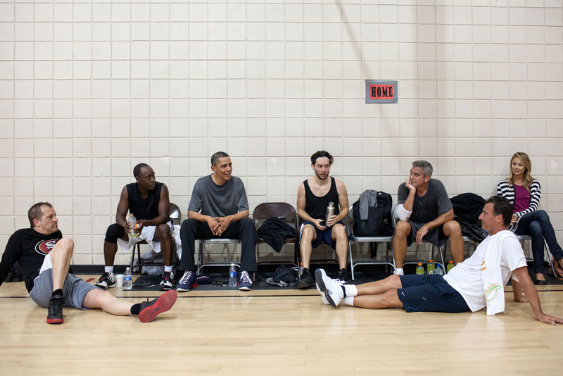 obama playing basketball clooney maguire cheadle