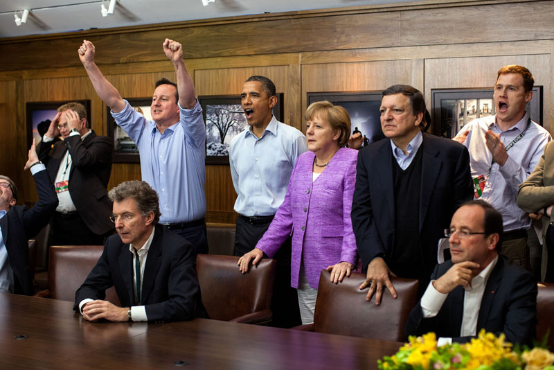 obama watching champions league g8 summit