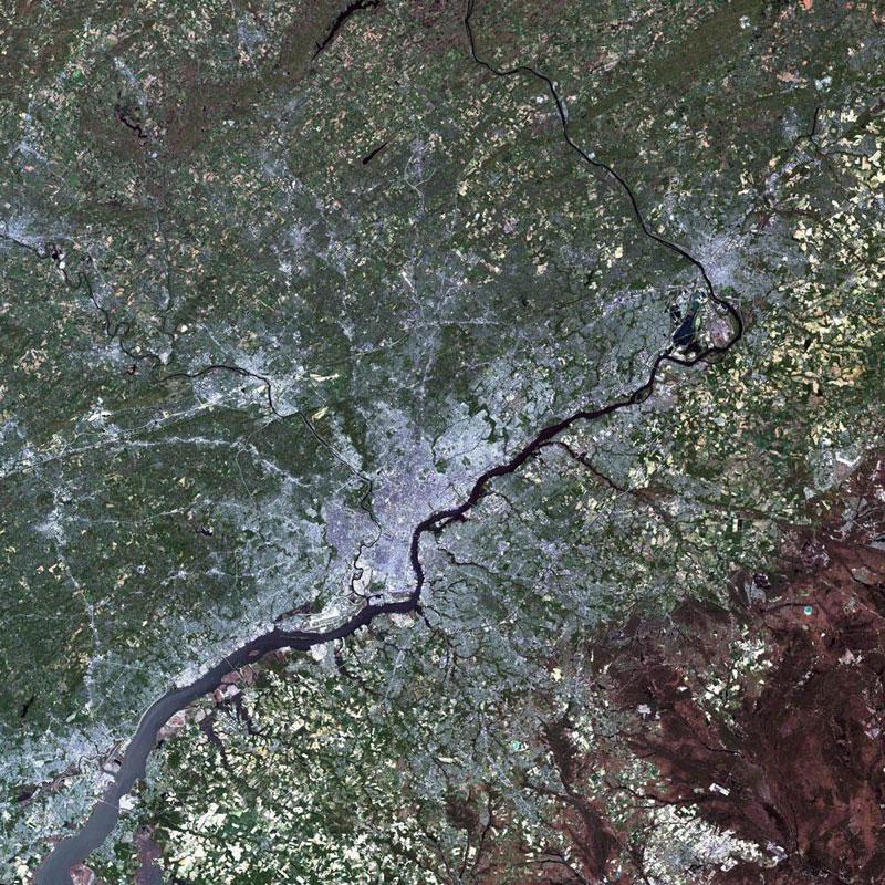 philadelphia  landsat satellite image