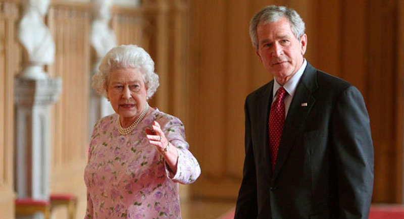 queen elizabeth george w bush windsor castle england june 15 2008 Portraits of the Queen with the Last 12 U.S. Presidents