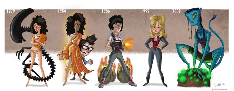 sigourney weaver character evolution illustrated by jeff victor The Character Evolutions of Famous Actors