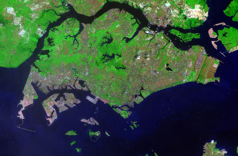 singapore landsat satellite image