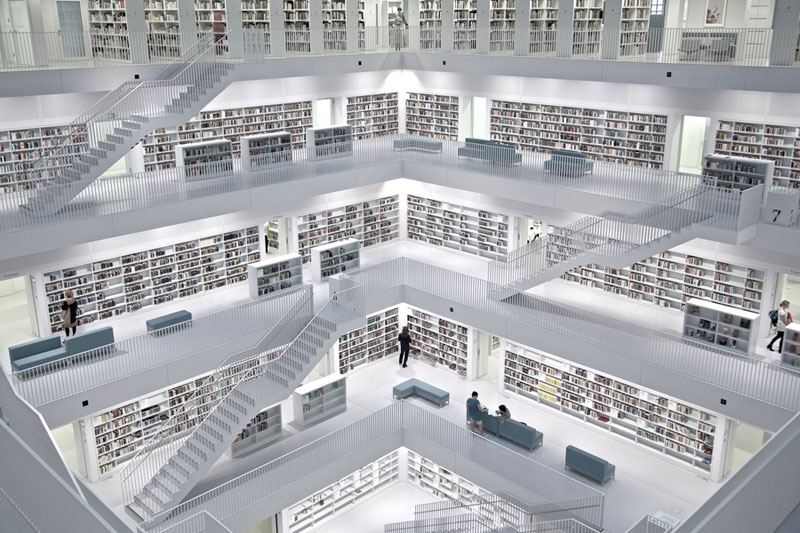 Picture of the day inside the stuttgart city library for German word for floor