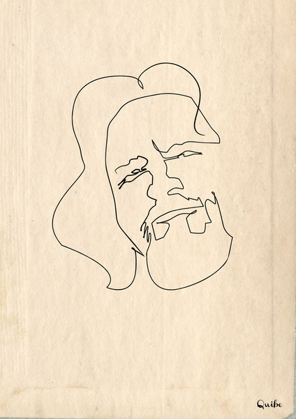 the-dude-big-lebowski one line portrait by quibe