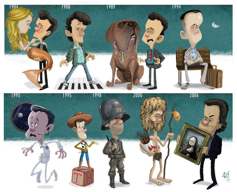 tom hanks character evolution illustrated by jeff victor The Character Evolutions of Famous Actors