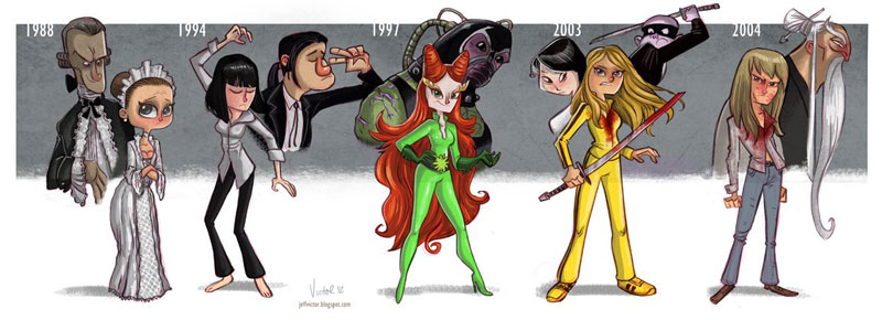uma thurman character evolution illustrated by jeff victor The Character Evolutions of Famous Actors