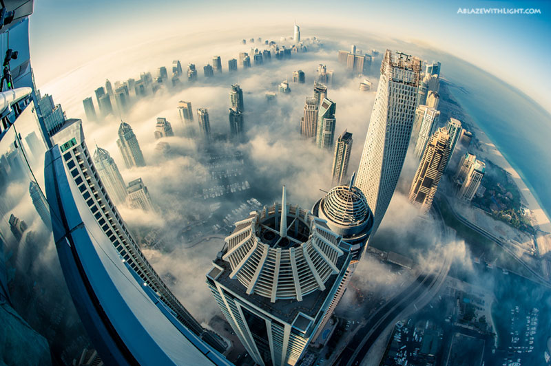 cloud city foggy dubai aerial from above princess tower The Top 50 Pictures of the Day for 2013