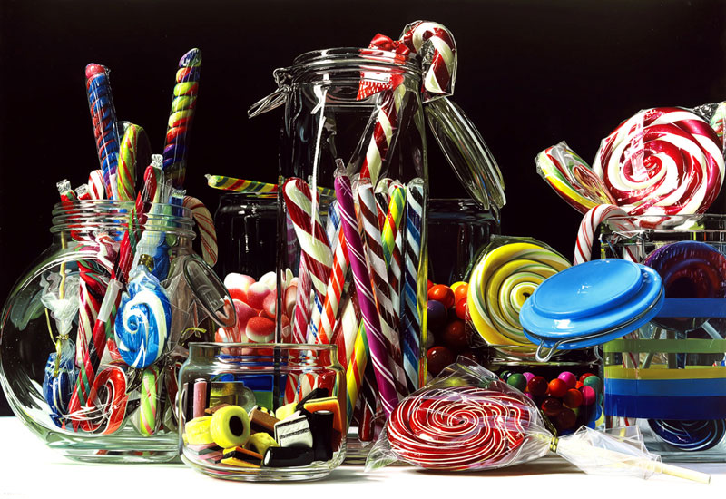 hyperrealistic paintings Roberto Bernardi candy-rainbow