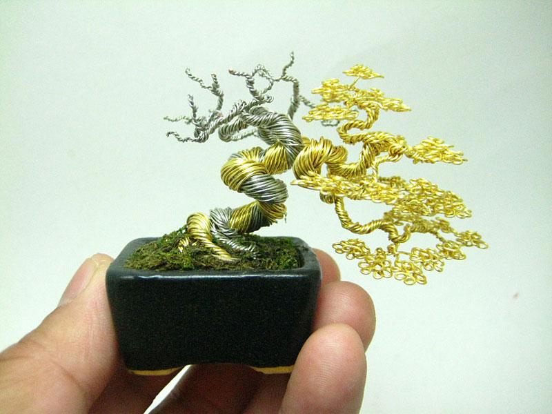 miniature bonsai tree wire sculptures by ken to twistedsifter rh twistedsifter com Bonsai Silhouette Bonsai Wire Sizes