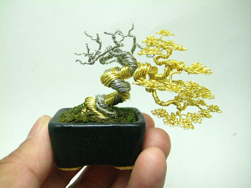 miniature wire bonsai tree by ken to 7 The Unseen Lives of Miniature Cement People