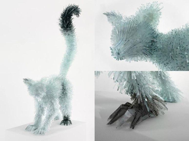 разрушены стекла и животных-скульптура-Марта-klonowska-лемур
