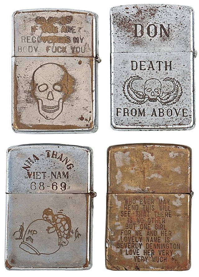 soldiers engraved zippo lighters from the vietnam war 3 Volunteers Etch 9000 Figures onto Normandy Beach in D Day Memorial