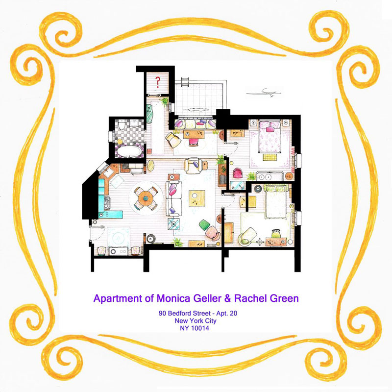 Detailed Floor Plans of TV Show Apartments «TwistedSifter on building plans with apartment, house plans 1 bedroom apartment, home with apartment, gardening with apartment,