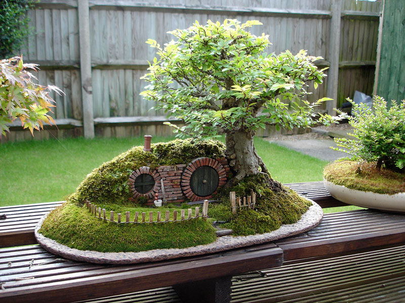 bonsai baggins hobbit home by chris guise 7 This Bonsai Masters Greatest Work of Art is a Loving Tribute to his Grandkids