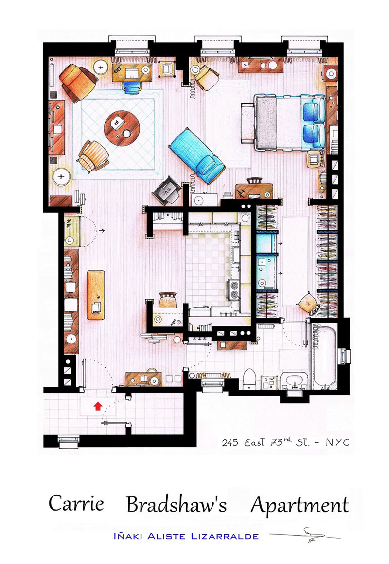 Detailed floor plans of tv show apartments twistedsifter for Apartment floor plan