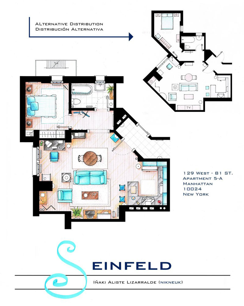 Detailed floor plans of tv show apartments twistedsifter Floor plans for apartments