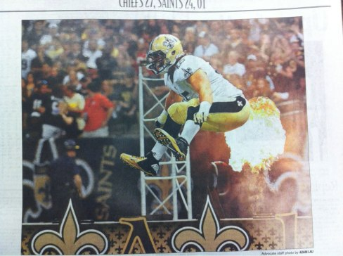 saints football fart newspaper perfect timing