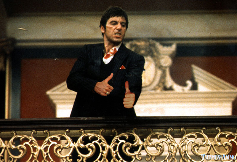 scarface thumbs up tim b Classic Statues Dressed in Modern Day Clothes