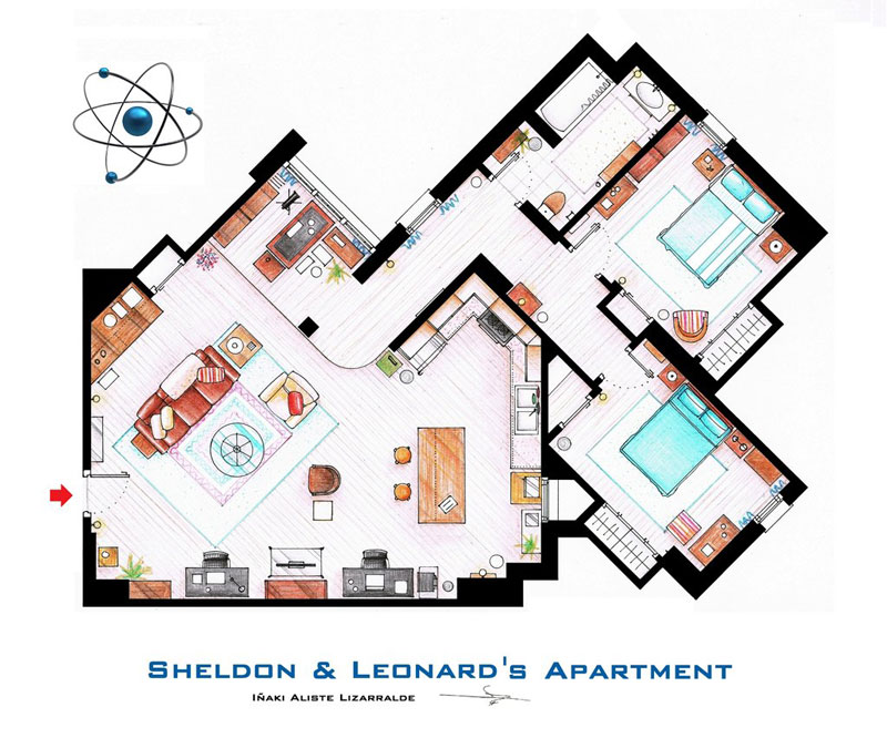 Detailed floor plans of tv show apartments twistedsifter for Large apartment floor plans