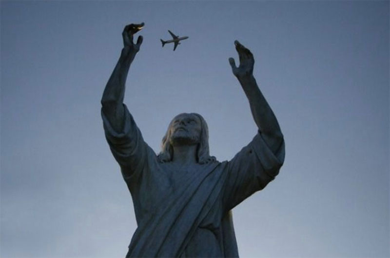 statue juggling plane perfect timing