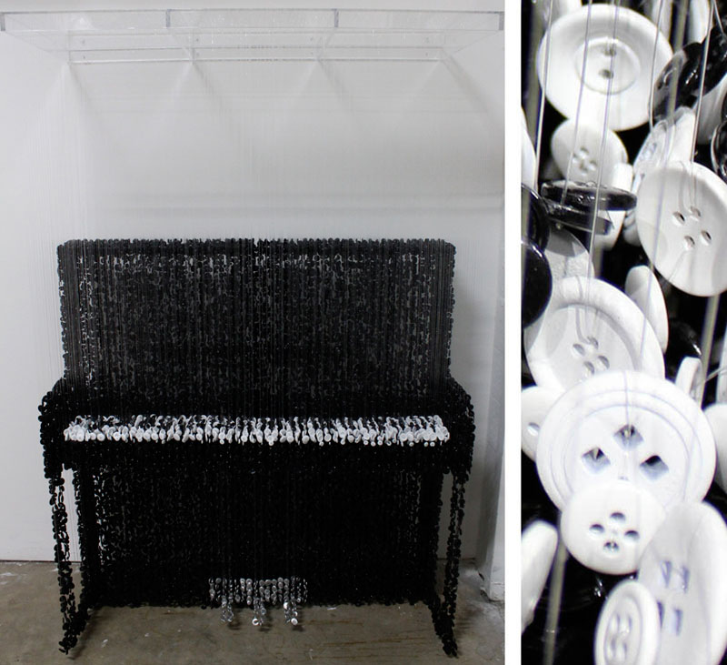 Sculptures Made from Suspended SewingButtons
