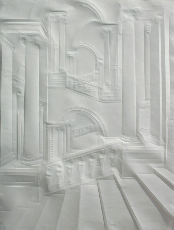 artwork made from a folded sheet of paper simon schubert 7 This is What 100 Sheets of Stacked, Laser Cut Paper Looks Like