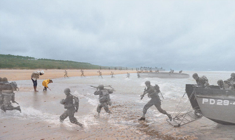 blending historic moments into present day photos and locations seth taras history channel know where you stand dday normany wwii