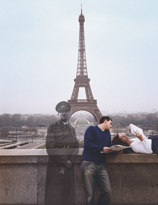 blending historic moments into present day photos and locations seth taras history channel know where you stand hitler eiffel tower Imagining Manhattan Inside the Grand Canyon