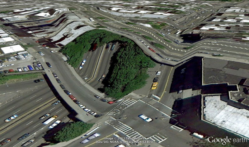 bronx new york google earth glitches errors clement valla 10 Times Panoramas Went Wrong