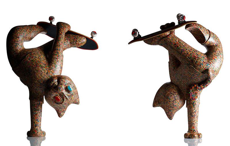 cat handplant sculpture made from skateboards haroshi 11 Sculptures Crafted from Old Skateboard Decks