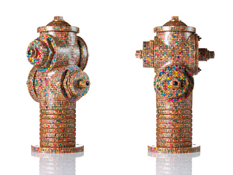fire hydrant made from old skateboard decks haroshi 11 Sculptures Crafted from Old Skateboard Decks