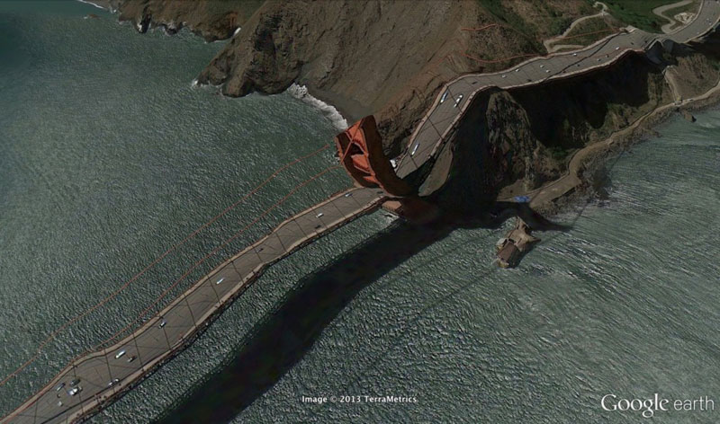 golden gate bridge google earth glitches errors clement valla