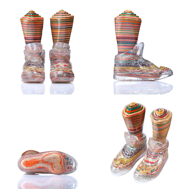 invisible kicks airwalk made from old skateboard decks haroshi 11 Sculptures Crafted from Old Skateboard Decks