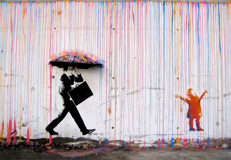 raining paint stencil street art umbrella kid playing skurtur Picture of the Day: Raining Paint in Norway