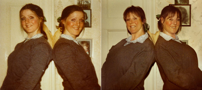 recreating childhood photos irina werning Campbell Twins 1976 & 2011 London
