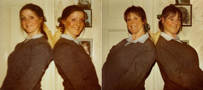recreating childhood photos irina werning Campbell Twins 1976 & 2011 London
